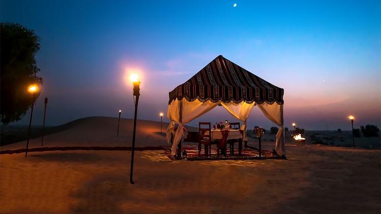 bab al shams resort spa romantic dinner tent